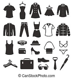 Clothing Store Icons set. Black on a white background