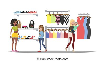 Clothing store interior with clients. Clothes for women