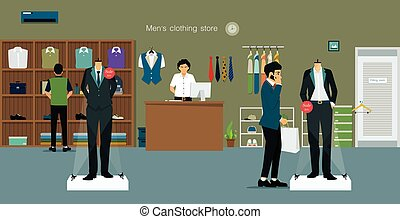 Clothing store man - Men's clothing store with salespeople...