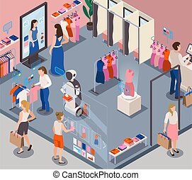 Modern fashion store retail service robots providing personal customer assistance recommending clothing choices isometric composition vector illustration