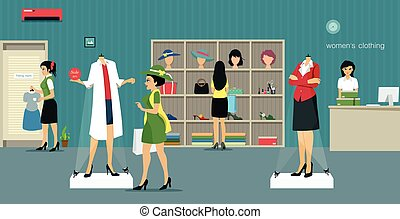 Clothing store woman - Women's clothing store with...