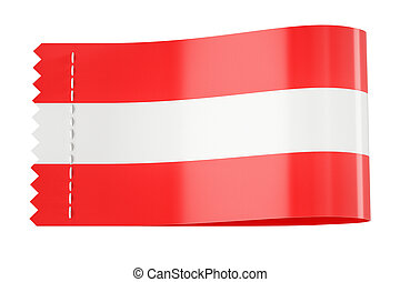 Clothing tag, label with flag of Austria. 3D rendering
