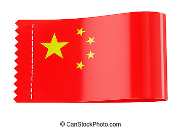 Clothing tag, label with flag of China. 3D rendering