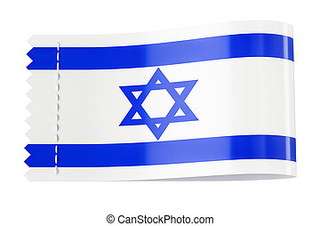Clothing tag, label with flag of Israel. 3D rendering
