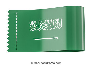 Clothing tag, label with flag of Saudi Arabia. 3D rendering