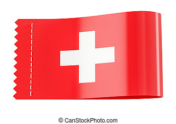 Clothing tag, label with flag of Switzerland. 3D rendering
