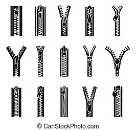 Clothing zipper icon set, simple style