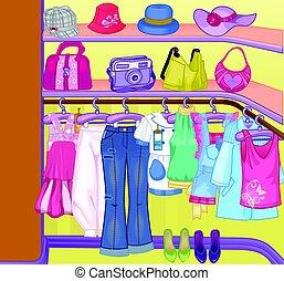 cloths., hänger lös, skåp, shoes., kläder, rutor, time., garderob, inköp