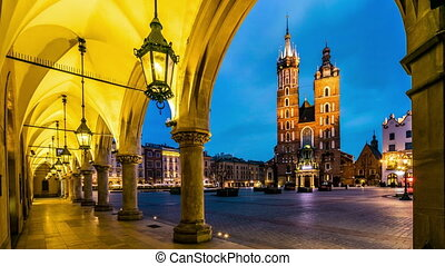 Cloth's Hall and Saint Mary's Church at Market Square in Krakow, Poland