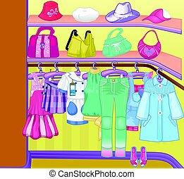 cloths., pantalló, beépített szekrény, shoes., öltözék, dobozok, time., szekrény, bevásárlás