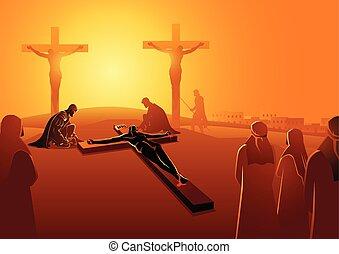 cloué, jésus, croix