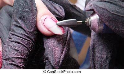 clou, client, enlever, vieux, hygiénique, polish., manucure...