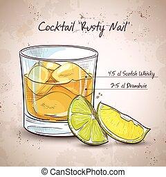 clou, rouillé, cocktail