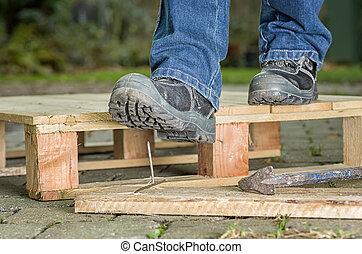 clou, sécurité, ouvrier, bottes, étapes