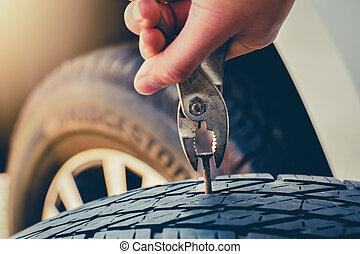 clou, traction, pneu, main, réparation, fixation, pneu, plat...