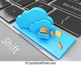 cloud., 3d, almacenamiento, archivo, teclado