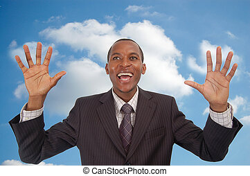 Cloud 9 Businessman - This is an image of an over excited...