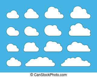 Cloud. Abstract white cloudy set isolated on blue background. Vector illustration