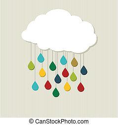 cloud., abstratos, vetorial, criativo