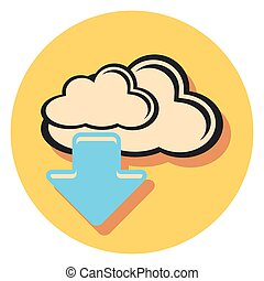 cloud and arrow flat icon in circle.eps