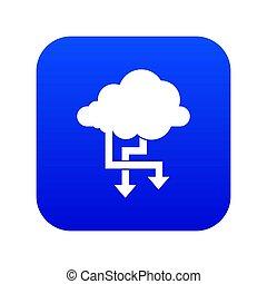 Cloud and arrows icon digital blue