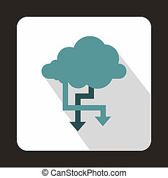 Cloud and arrows icon, flat style