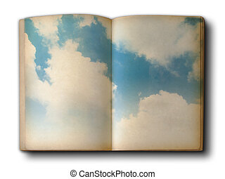 Cloud and blue sky on book