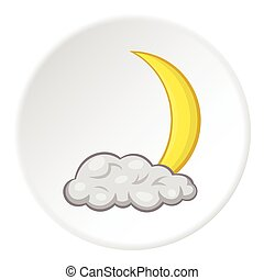 Cloud and crescent moon icon, cartoon style