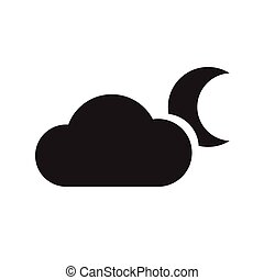 cloud and crescent Moon icon