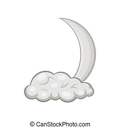 Cloud and crescent moon icon, monochrome style