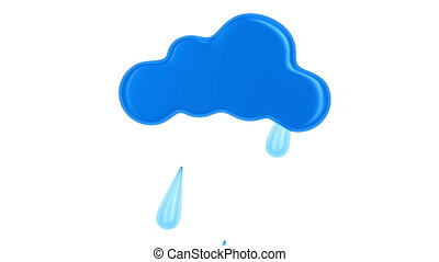 cloud and drop on white background. Isolated 3D render