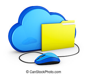 cloud and folder with mouse
