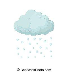 Cloud and hail icon, cartoon style