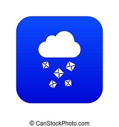 Cloud and hail icon digital blue