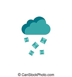 Cloud and hail icon in flat style