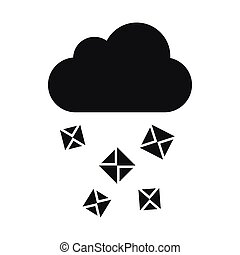 Cloud and hail icon, simple style