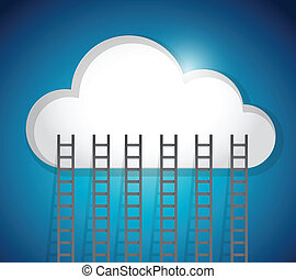 cloud and ladders illustration design over an blue background