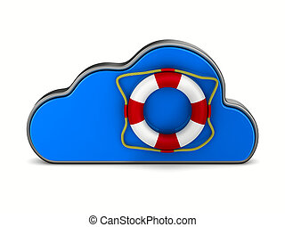 Cloud and lifebuoy on white background. Isolated 3D...