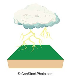 Cloud and lightning icon, cartoon style