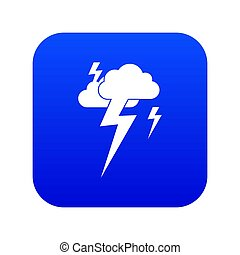 Cloud and lightning icon digital blue