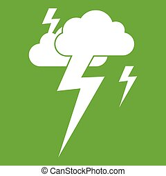 Cloud and lightning icon green