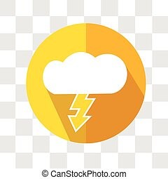 Cloud and Lightning Icon. Weather Storm Forecast. Vector Illustration.