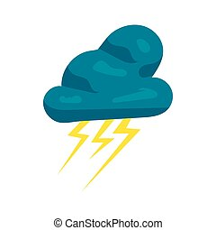 Cloud and lightnings icon, cartoon style