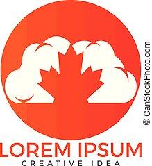 Cloud and Maple leaf Canada logo design.