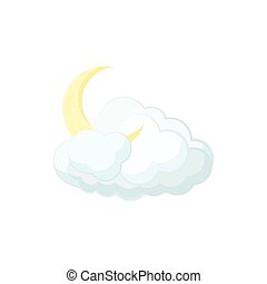 Cloud and moon icon, cartoon style