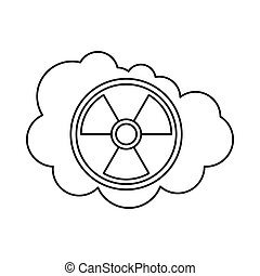 Cloud and radioactive sign icon, outline style