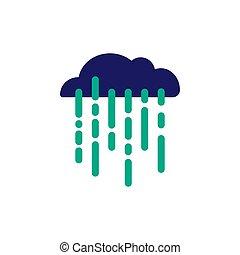Cloud and rain blue flat icon