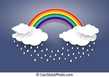 Cloud and Rainbow in blue sky  Paper art Style.Rainy season concept .Rainy day ,vector Illusatration