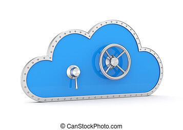 Cloud and safe lock. Secure metaphor. - Secure metaphor....