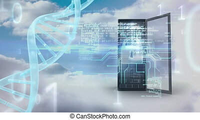 Cloud and sky with data center security and DNA spiral